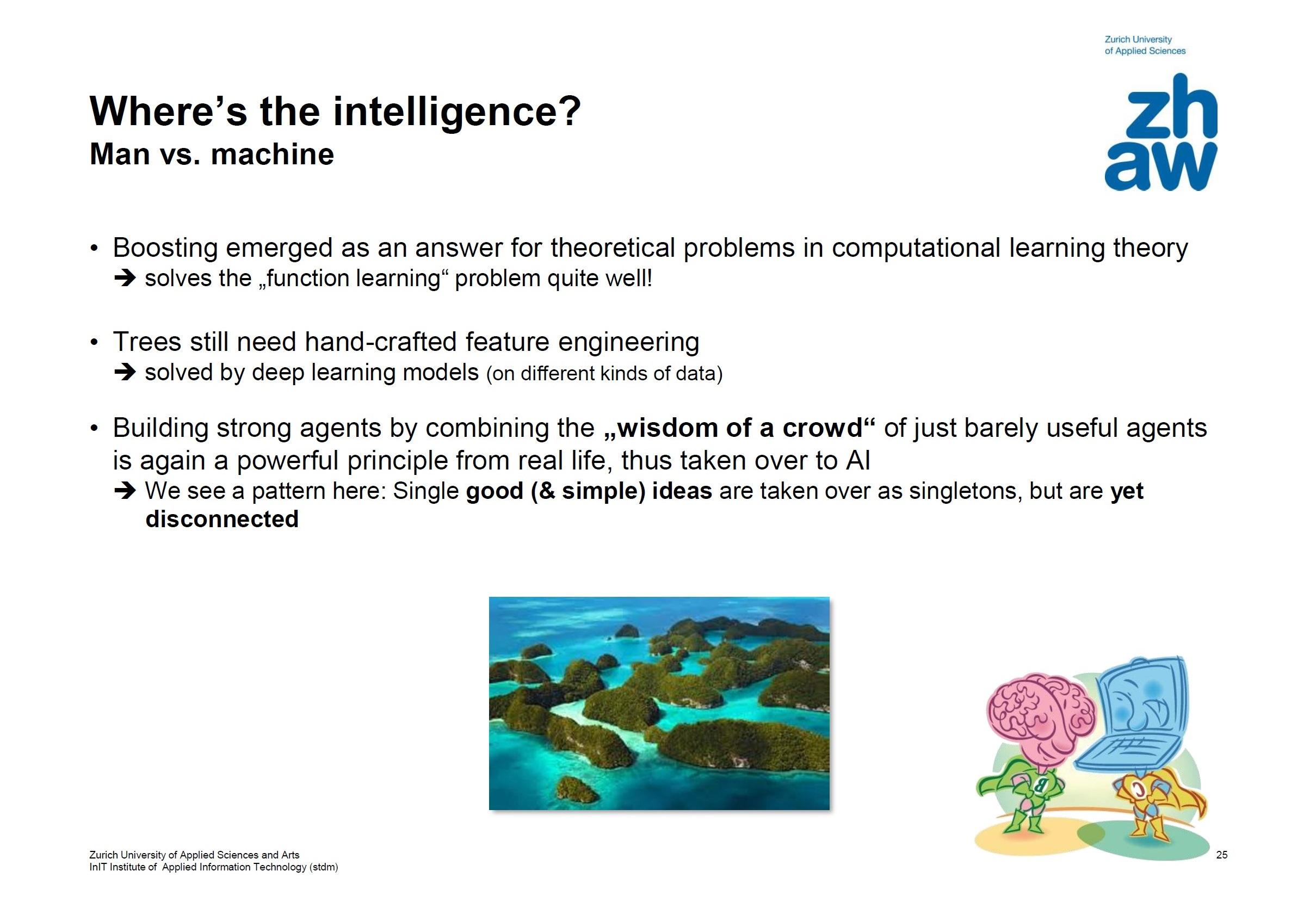 """Abbildung 1: Beispiel zum Abschnitt """"Where's the Intelligence?"""""""" aus den Vorlesungsunterlagen zu V09. Es greift sinnbildlich auch die diesem Lehrkonzept zugrundeliegende Idee der """"Landkarte"""" auf, indem es die KI Methodenlandschaft als Atoll disjunkter, aber benachbarter Inseln darstellt."""