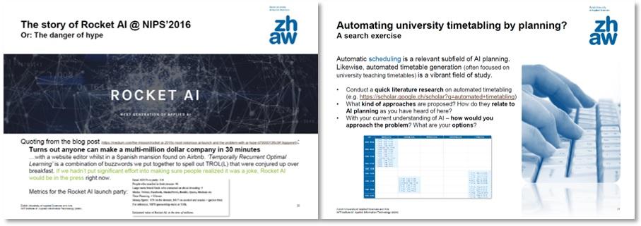 """Abbildung 3: Folie 25 aus V01 (Einblick in Ereignisse aus der Forschungslandschaft) sowie Folie 21 aus V07 (mit einem Recherche- und Meinungsbildungsauftrag) der Kursunterlagen zu """"Künstliche Intelligenz""""."""